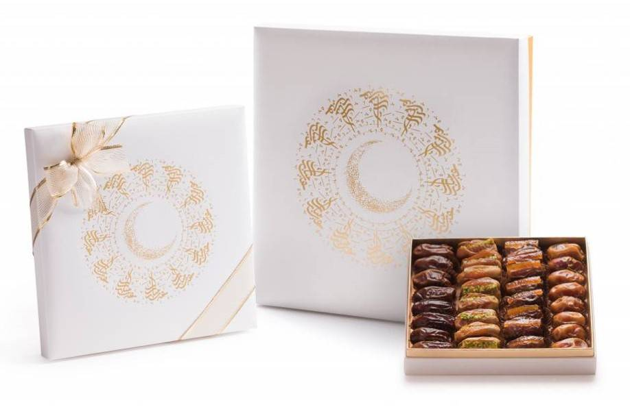 Bateel USA Eid Mubarak Radiant White and Gold Gift Box with Gourmet Dates