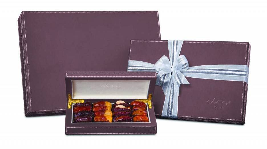Bateel USA Brown Leather Gift Box with Gourmet Dates