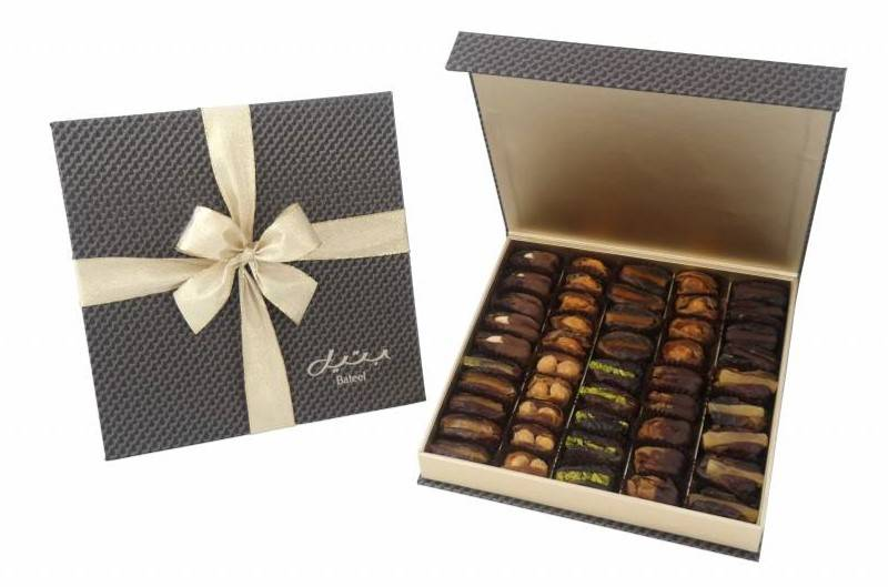 Bateel USA Silver Carbon Fiber Gift Box with Gourmet Dates