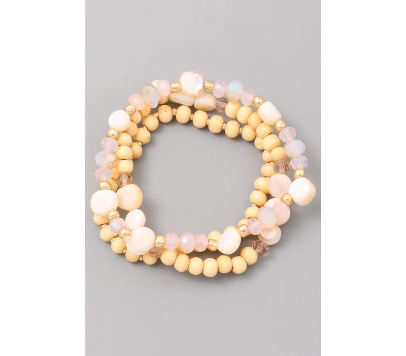 Wood & Crystal Bracelet Stack in Blush