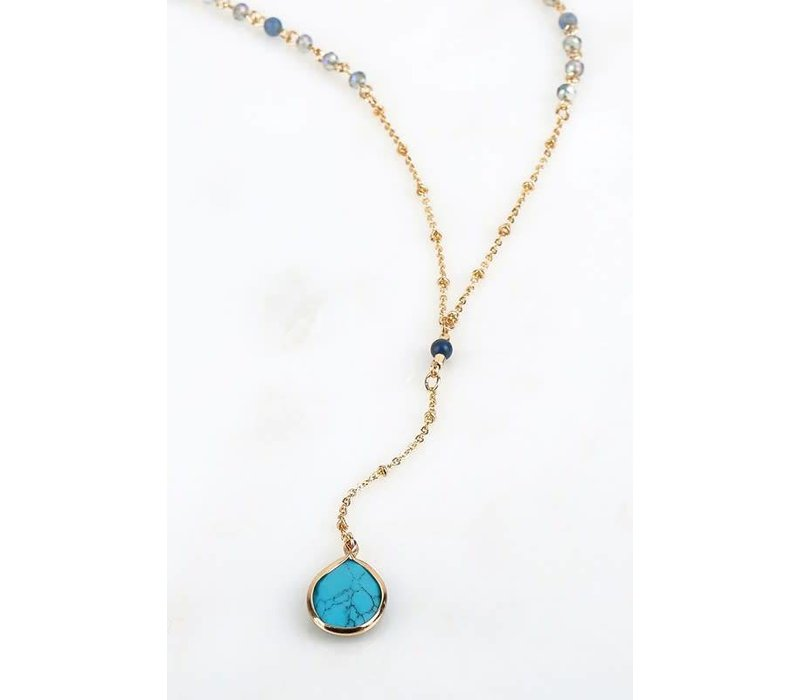 Drop Crystal Chain & Stone Necklace