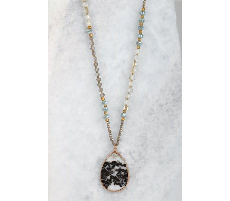Black & White Marbled Stone Necklace