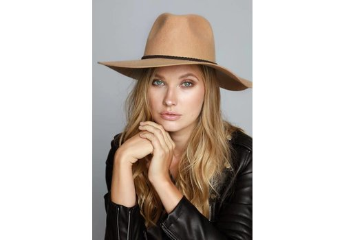 Tan Wool Felt Hat with Suede Braided Trim