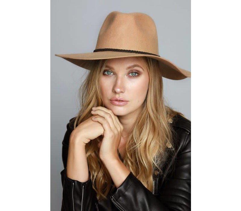 Tan Wool Felt Hat with Suede Braided Trim - Little Gypsie Boutique 47494539ee4
