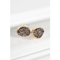 Oval Druzy Post Earrings