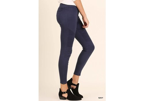 Navy Moto Jeggings with Side Zipper