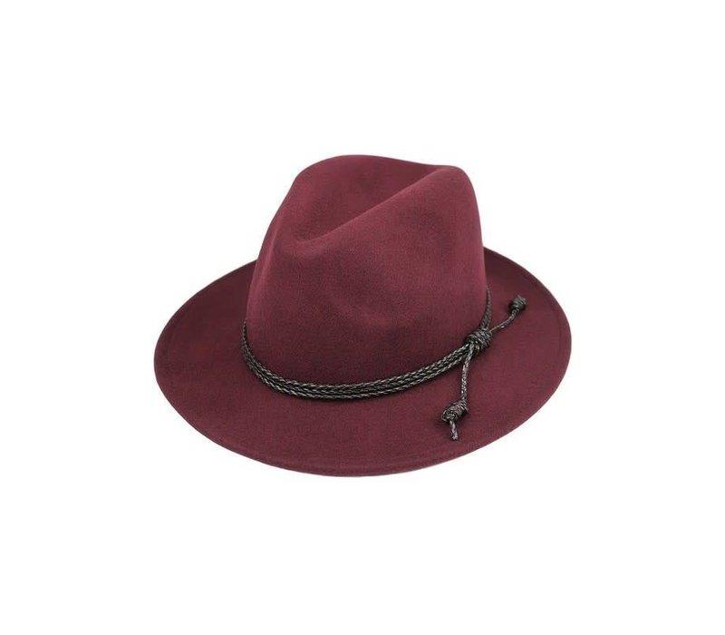 Burgundy Wool Felt Panama Hat
