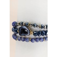 Druzy Natural Stone & Glass Bead Stackable Sets