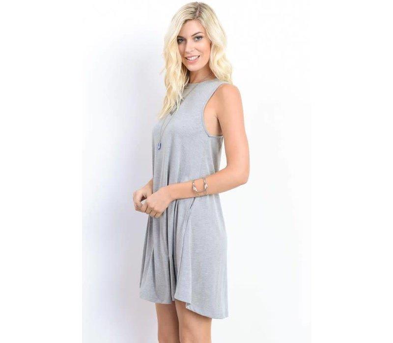 BEST SELLER- Heather Gray Pocket Tank Swing Dress