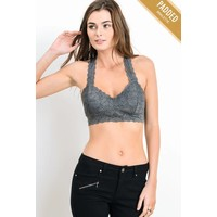 Padded Lace Bralette In Charcoal
