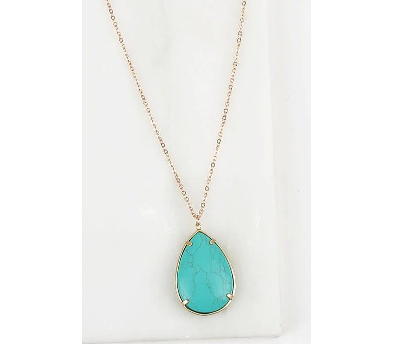 Turquoise Natural Stone Pendant Necklace