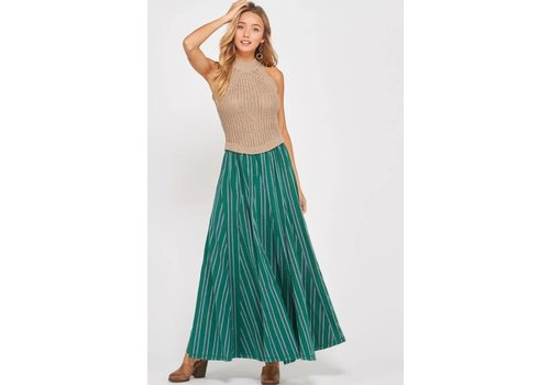 Bohemian Collect Fall Fest Stripe Maxi Skirt in Green