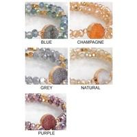 Druzy Bracelet Sets in 4 Color Choices
