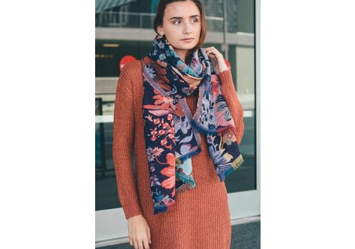Floral Frayed Woven Tapestry Scarf