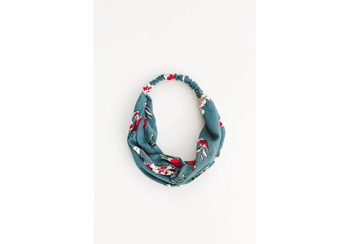 Teal & Red Floral Turban