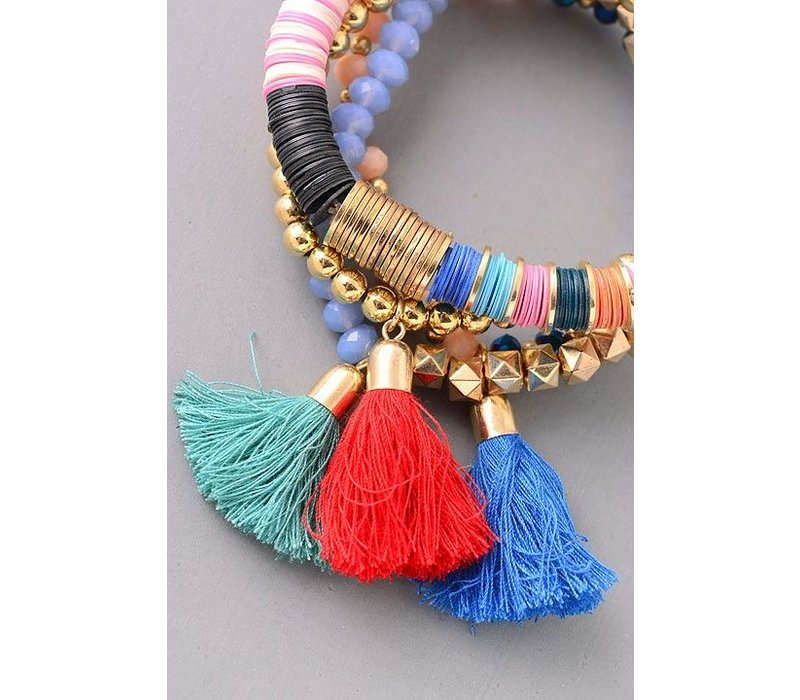 Fall Tassel Bracelet Stack