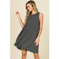 Black & White Stripe Tank Tunic Dress