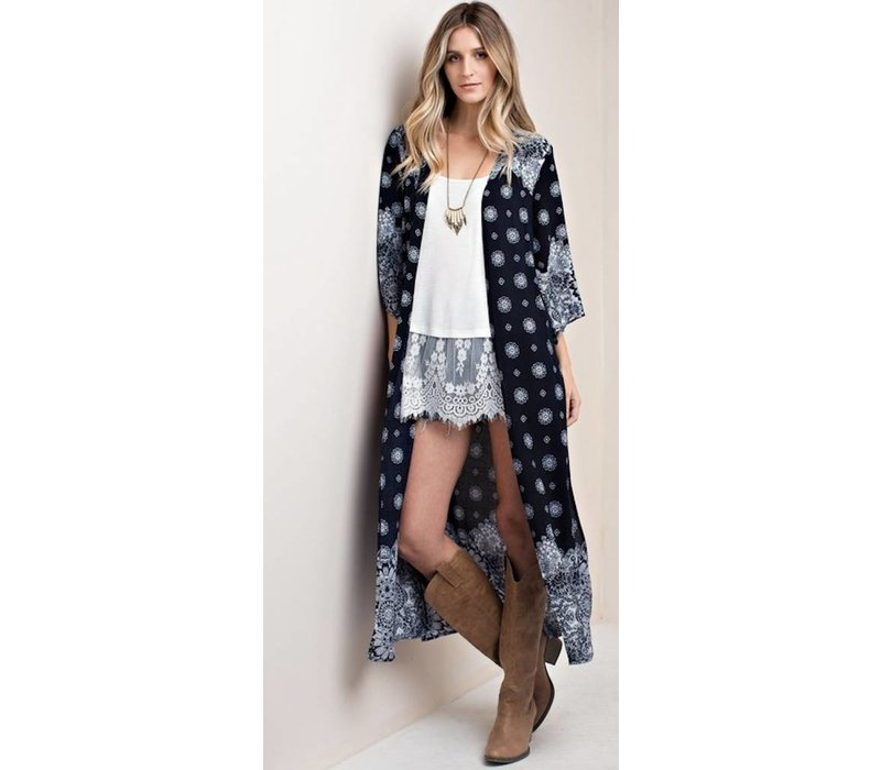 Bohemian Collect Navy Medallion Duster Kimono