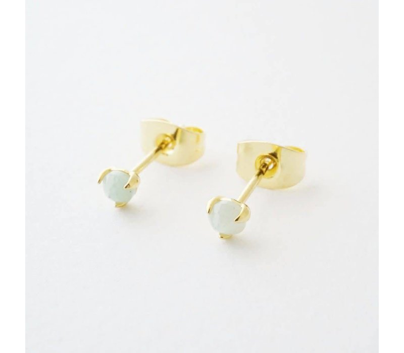 24k Gold Plated Jade Point Solitaire Stud Earrings
