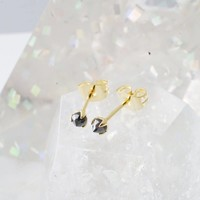 24k Gold Plated Iron Ore Solitaire Stud Earrings