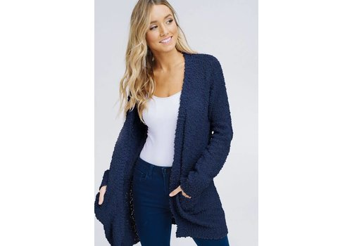 Chunky Knit Sweater Cardi in Navy (S-3X)