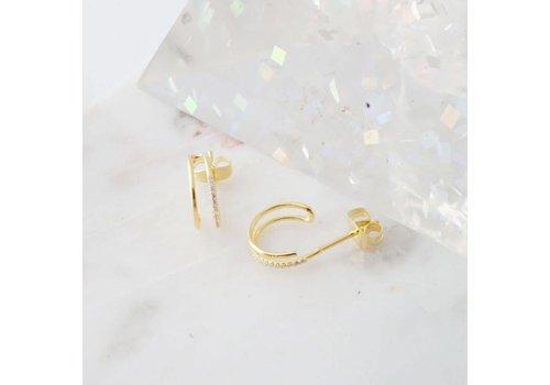Double Crystal Gold Hoop Earrings