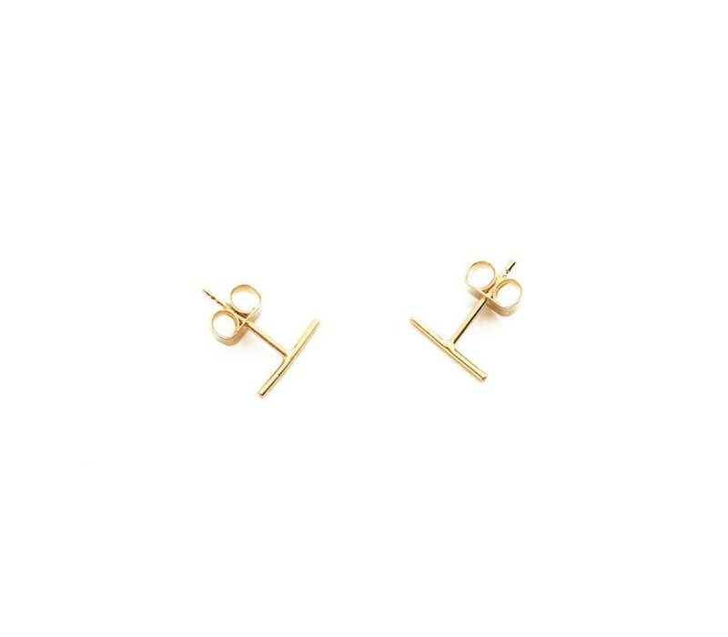 24k Gold Plated Dainty Bar Earrings