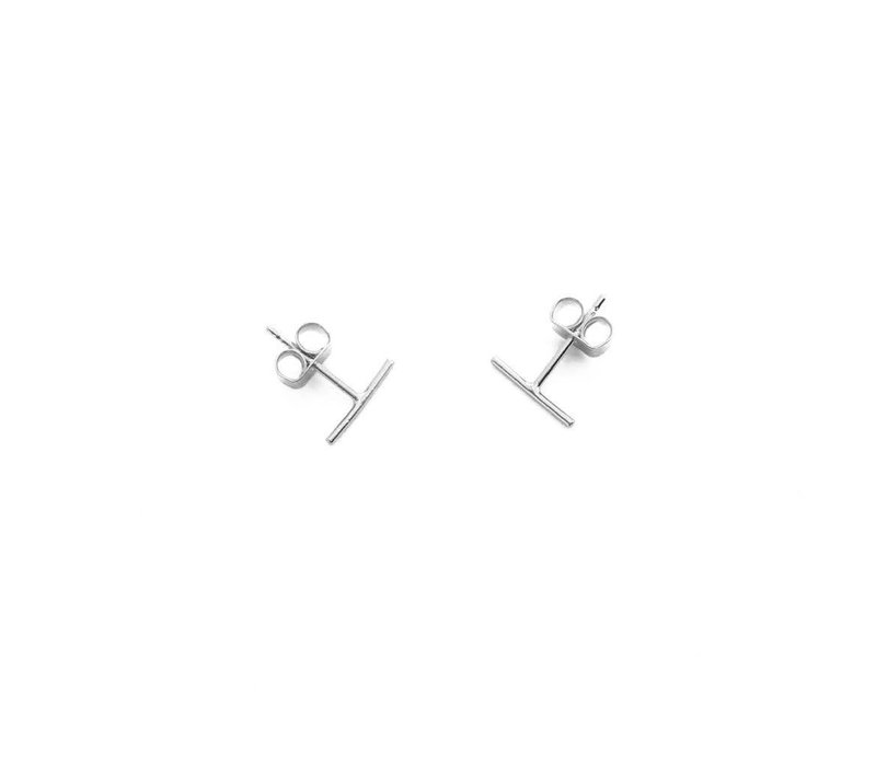 Rhodium Plated Dainty Bar Earrings