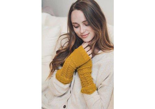 Knit Arm Warmers in Mustard