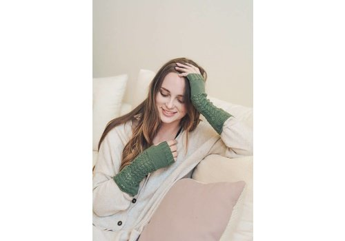 Knit Arm Warmers in Olive