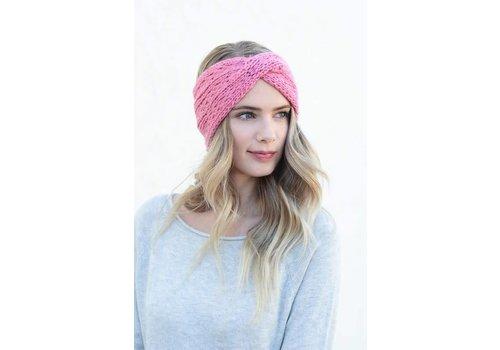 Rose Pink Front Twist Ear Warmer