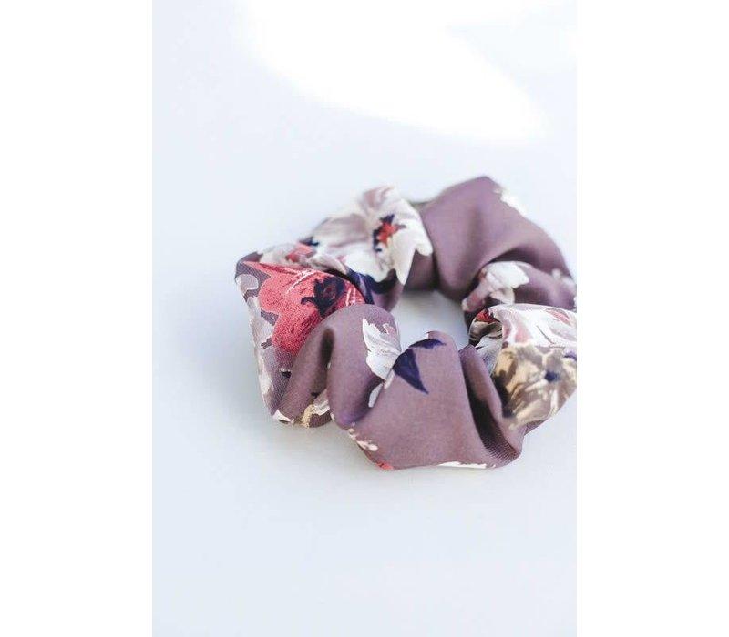 Mauve Floral Hair Scrunchie