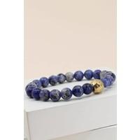 Marbled Stone & Gold Bead Bracelets