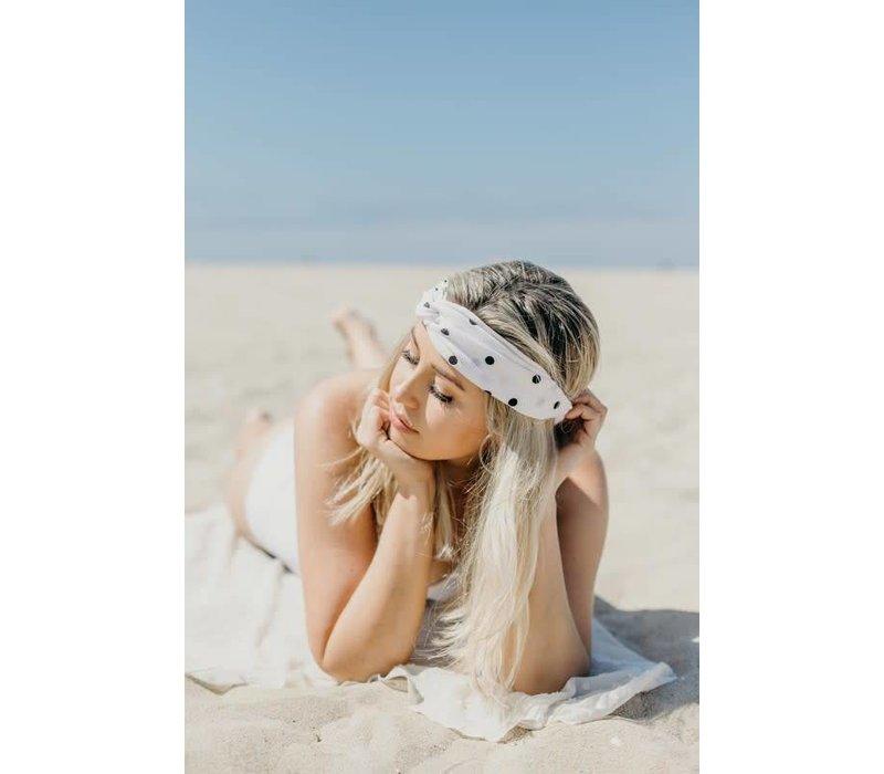 Black & White Polka Dot Turban Headband