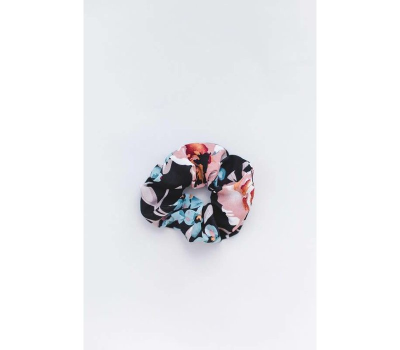 Black Floral Hair Scrunchie