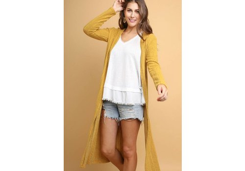 Mustard Ribbed Knit Duster