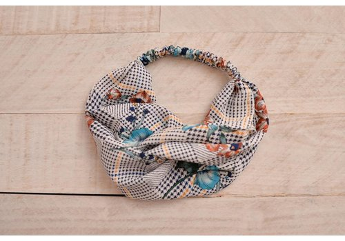 Floral + Houndstooth Turban Headband
