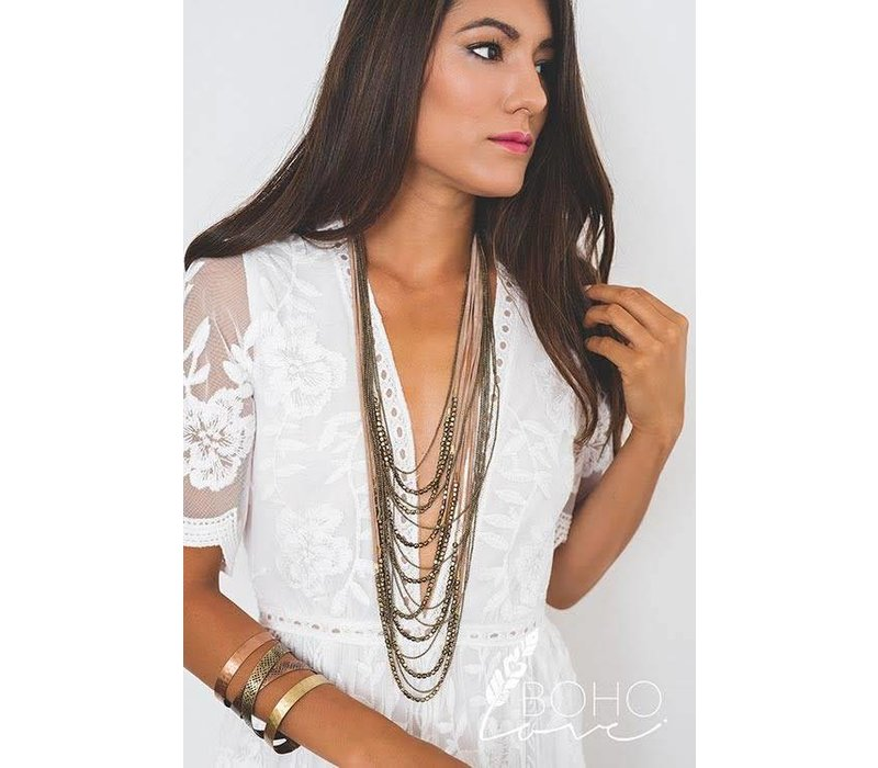 Boho Layered Suede & Bead Necklace