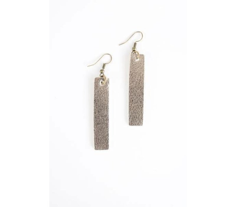 Metallic Pewter Leather Earrings