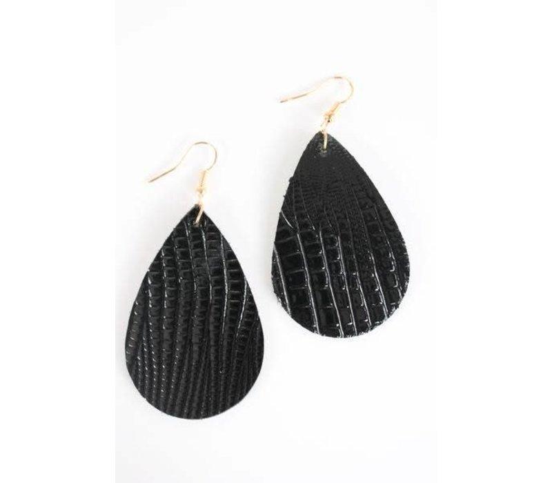 Black Teardrop Leather Earrings