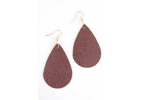 Brown Teardrop Leather Earrings