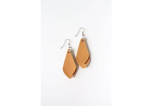 Double Layered Tan Leather Earrings