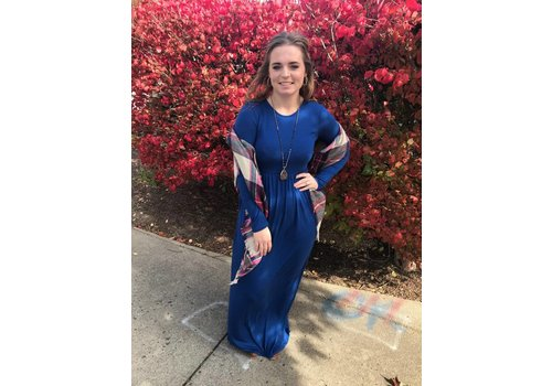 Sapphire Blue Long Sleeve Pocket Maxi Dress (S-3X)