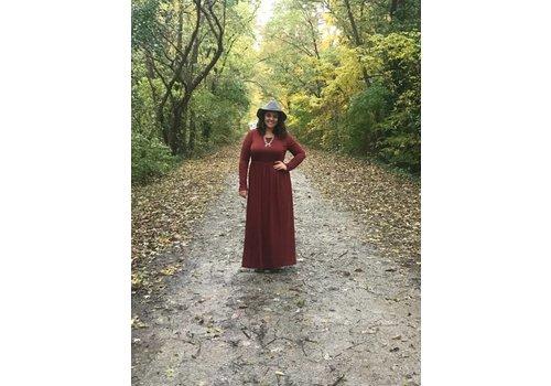 Fired Brick Long Sleeve Pocket Maxi Dress