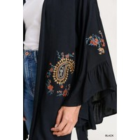 Bohemian Collect Embroidered Flare Sleeve Kimono