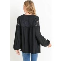 Black Lace Detailed Blouse