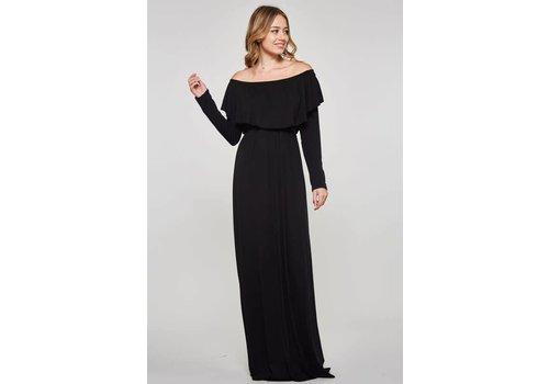 Black Off Shoulder Long Sleeve Maxi Dress