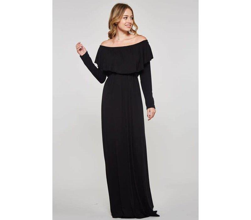 Black Off Shoulder Long Sleeve Maxi Dress Little Gypsie Boutique