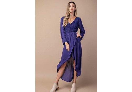 Violet Blue Lace Midi Dress
