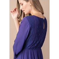Violet Blue Lace Midi Dress